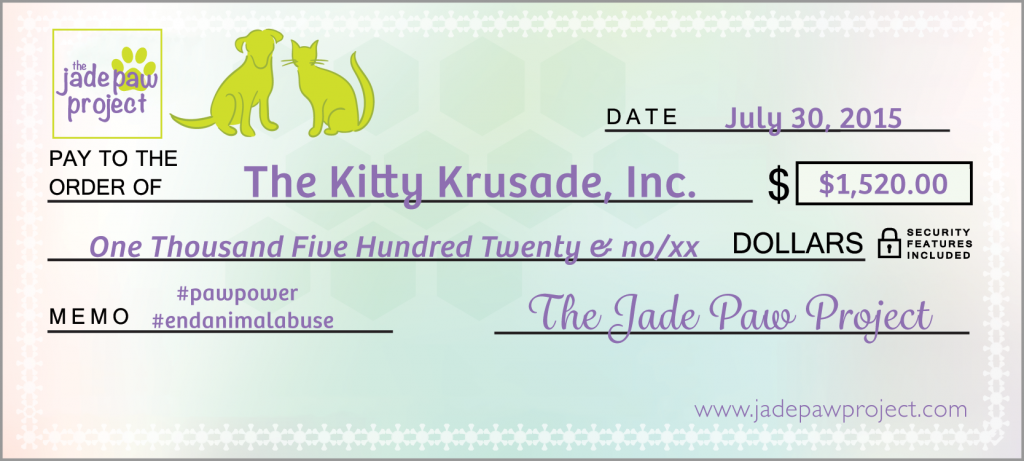 Jade Paw Project Award Check for The Kitty Krusade, Inc.
